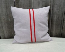 """French Grain Sack Style Pillow Cover - Red 18"""""""
