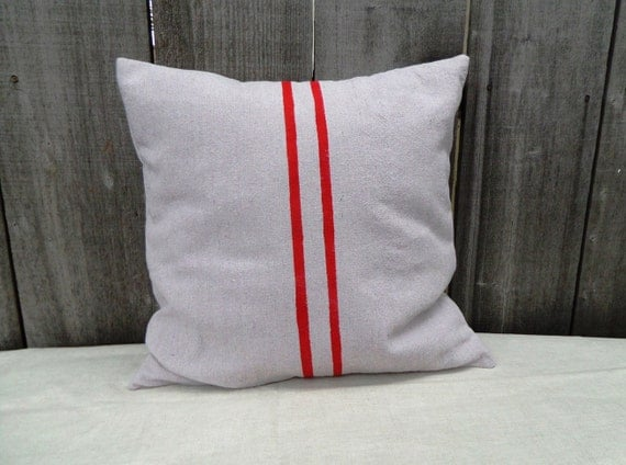 French Grain Sack Style Pillow Cover - Red 18""