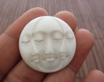 Gorgeous Hand Carved  30mm Three Face Cabochon with closed Eye, buffalo Bone Component, Cabochon for Setting S3848