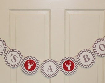 ANTLERS Happy Birthday Party or Baby Shower Banner Red Gray - Party Packs Available