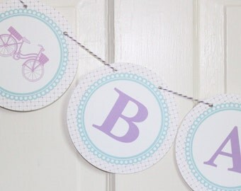 """VINTAGE BICYCLE Themed """"Oh Baby"""" Baby Shower Banner Lavender Aqua"""