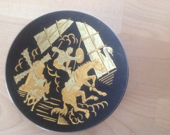 Vintage damascene toledo spain hand crafted Don Quijote miniature plate D 10 cm