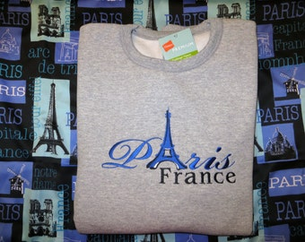Embroidered Paris France Eiffel Tower Sweatshirt