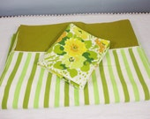Vintage Twin Flat Sheet & Pillowcase Mismatched Set -Green Stripe and Matching Florals