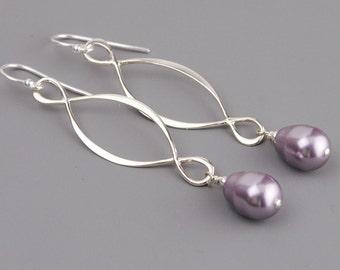 Purple Earrings - Pearl Drop Earrings - Sterling Silver Infinity Earrings - Swarovski Earrings - Lavender Earrings - Pearl Jewelry