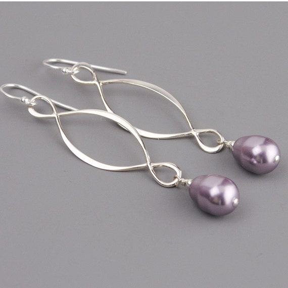 Mauve Lavender Pearl Earrings - Pearl Bridesmaid Earrings - Sterling Silver Infinity Earrings - Swarovski Pearl Infinity Earrings
