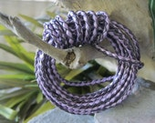 Amethyst Leather Cord Purple Braided Bolo 3MM  2 tone metallic  Jewelry Lace 1 Yard