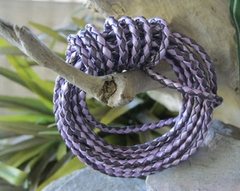 2 Tone Purple Braided 3MM Leather Cord Metallic Amethyst Round Lace 1 Yard SALE