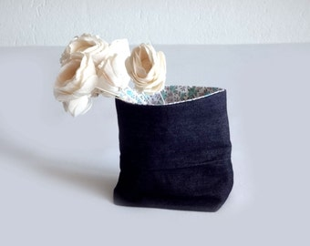 Storage basket  jeans and vintage flower fabric - gift - home decor