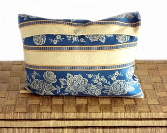 Elegant cushion, blue cushion cover, classic design with roses, OOAK, 12x16""