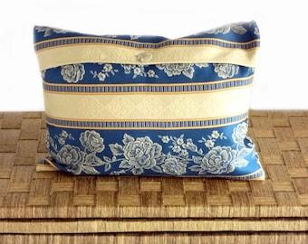 "Elegant cushion, blue cushion cover, classic design with roses, OOAK, 12x16"""