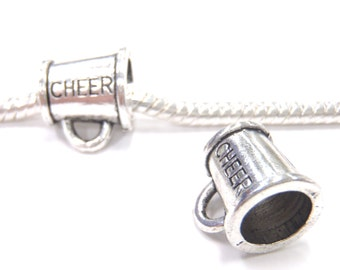 3 Beads - Cheer Cheerleader Megaphone Silver European Bead Charm E1192