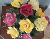 Vintage Porcelain Roses Yellow and Deep Pink Yellow Carnations Long Stem Home Decor Yummy