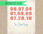 Personalized Special Dates Art 8x10 Print- Custom Family Art