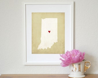 Indiana Silhouette State Map Customizable Art 8x10 Print