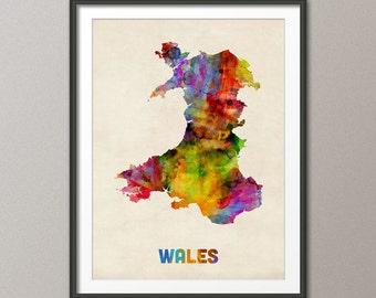 Wales Watercolor Map, Art Print (577)