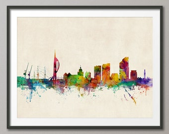 Portsmouth Skyline, Portsmouth England Cityscape Art Print (977)