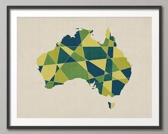 Australia Map, Geometric Retro Art Print (1059)