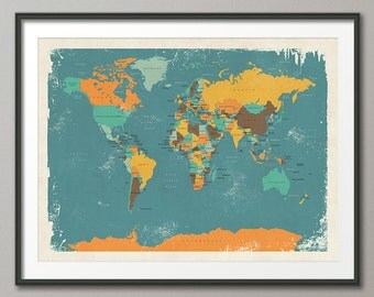 Retro Political Map of the World Map, Art Print, 18x24 up to 24x36 (1096)