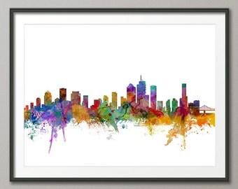 Brisbane Skyline, Brisbane Australia Cityscape Art Print (1270)