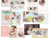 INSTANT DOWNLOAD - Photoshop Birth announcement templates bundle -  e1050