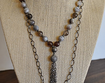 HANDMADE TASSEL NECKLACE with Botswana beads