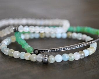 Stretchy CHRYSOPRASE bar PAVE DIAMONDS bracelet. also available with white moonstone