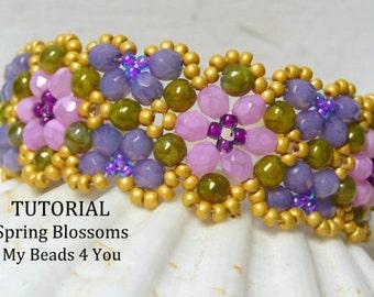 PDF Beading Tutorial, Bracelet Beading Pattern, Seed Bead Pattern, Seed Bead Tutorial, Beadwoven Tutorial, Beadwoven Bracelet, Pattern