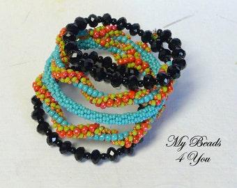 Beaded Bracelet, Memory Wire Bracelet, Spiral Bracelet,Peyote Bracelet,Seed Bead Bracelet,Turquoise Bracelet, Beaded Memory Wire Bracelet