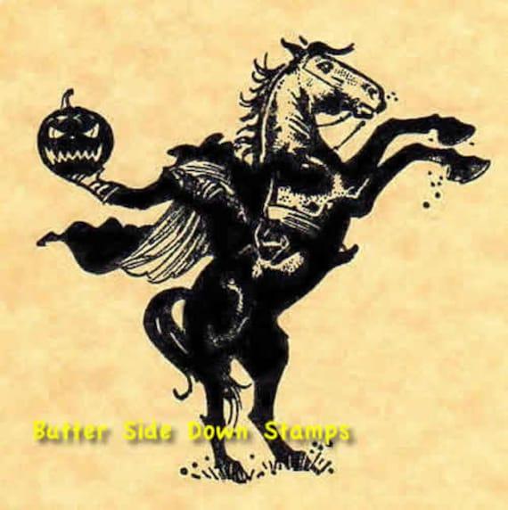 Headless Horseman Sleepy Hollow Halloween Rubber Stamp