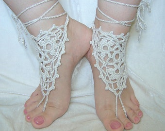 Natural color triangle crochet  barefoot sandals.
