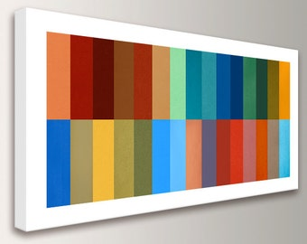 "Mid Century Modern Art - Geometric Art - Line Art - Stripe Painting - Canvas Panorama - Colorful Stripes White  - ""Gamut"""