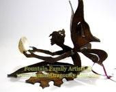 Gift Fairy Garden Art or Nursery Decor Rusty Recycled Metal Eco Friendly Housewarming Gift