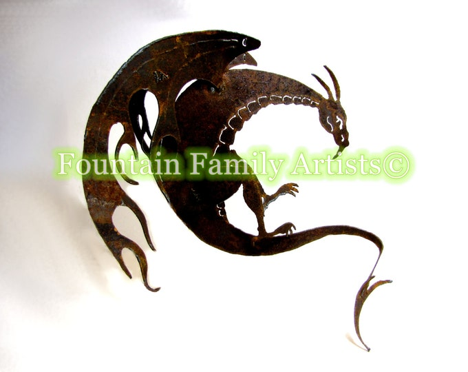Dragon Garden Art Sculpture from Rusty Recycled Metal Eco Friendly