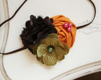 Brown, Green and Orange headband, rosette headbands, fall headbands, brown headbands, newborn headbands, photography prop