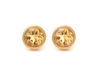 Citrine Stud Earrings - Gemstone POP Stud Earrings - Citrine in Yellow Gold - 18k Gold Vermeil - Studs