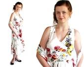70 Dress, Sundress, Halter Dress, Prom, Vintage Wedding, Floral Print, Caplet