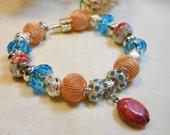 Peach and Blue Bracelet, Pastel Peach Blue Floral Bracelet, European Charm Bracelet, Murano Bead Bracelets, Ladies Bracelet