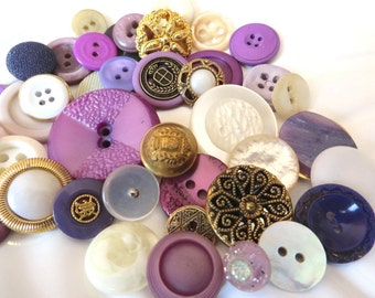 Golden Lilacs and Cream Vintage Button Collection - 42 unique buttons (3A)