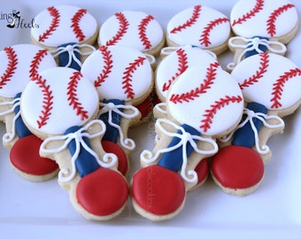 Baseball Baby Shower Cookies, Red White and Blue Baseball Baby Rattle, Sugar Cookie Favors, It's A Boy Decorated Cookies, Baby Shower Cookie