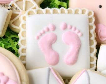 Baby Footprint Cookies, Baby Shower Cookies, It'sA Girl Cookies, It's A Boy Cookies, Baby Cookies, New Baby Cookies, Mother To Be Cookies