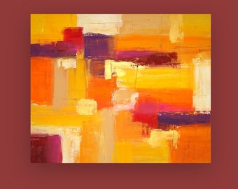 "Painting Acrylic Abstract Art on Canvas Titled: Warmth Of Autumn 30x36x1.5"" by Ora Birenbaum"