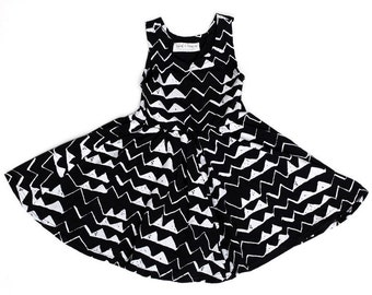Mountain Twirling Dress in White on Black