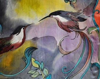 Painting silk Shawl/Hand painted shawl/Humming birds/Painted on hand silk Birds/Woman accessory/Luxury shawl/Spring Summer long shawl/H0147