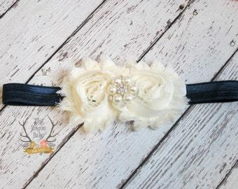 Cream & Navy Blue Headband Pearl Rhinestone -  Baby - Flower Girl - Newborn Infant Baby Toddler Girls Adult Wedding Ivory