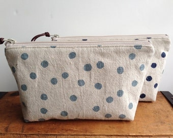 Sky Blue Polka Dots Pouch, Zipper Cosmetic Pouch, Toiletry Bag, Linen Pouch