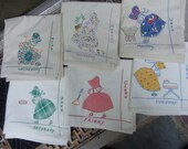 1950s Set of Six Linen Embroidered Patchwork Tea Towels