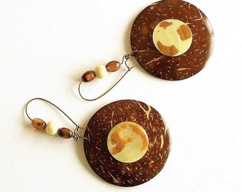 SALE/CLEARANCE - Coconut Wood and Mother of Pearl Dangles