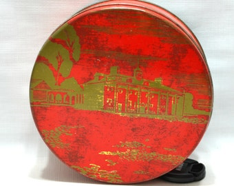 Vintage Cookie Tin Metal Decorative Red Gold Fruit Cake Bakers of America