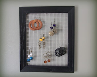 Earring holder, 10x13 black earring display, Wire mesh earring hanger, Trendy earring holder, wall earring holder, Simple Earring Holder